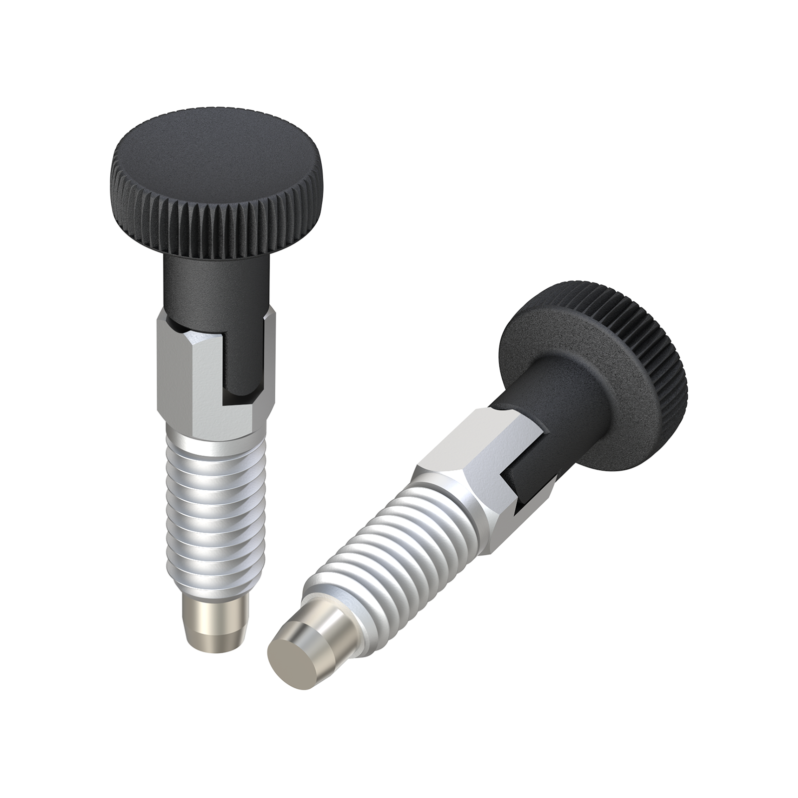 Index bolt with knurled head with stop