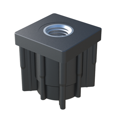Our square reinforced tube insert has an hexagonal nut which is inserted during the injection process. The tube insert has an excellent finishing and a good resistance. It is suitable for our adjustable feet, please see our Adjustable feet section.