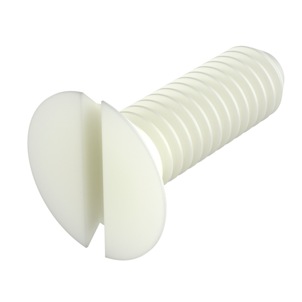 Our nylon flat slotted head screws (countersunk slotted head screws - DIN 963) provide excellent resistance against chemicals (see table of properties). It is a material with a high level of dielectric strength, it does not rust and prevents damage due to breaking strength during mechanical stress.